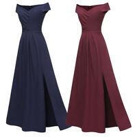 Women Off Shoulder Slim Dress Evening Party Wedding Bridesmaid Prom Gown