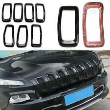 7 Front Grille Inserts Mesh Bumper Accessories-Black For Jeep Cherokee 2014-2016