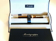 MONTEGRAPPA DESIDERIO BALLPOINT PEN IN PEARLED CHOCOLATE & STERLING SILVER - NEW