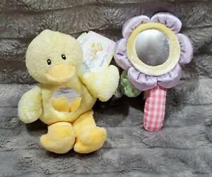 Baby Gund Blossom Flower Dottie Dots Duck Rattle Mirror Plush Toy Lot NWT