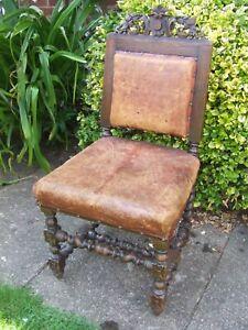 carved oak chair for restoration