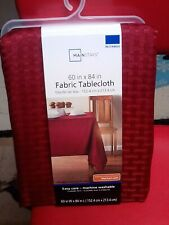 "MAINSTAYS~BRILLIANT BURGANDY RED~RECTANGLUAR~FABRIC TABLECLOTH~60"" X 84""~NEW"