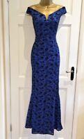 £65 EX QUIZ Blue Lace Sparkly Bardot Fishtail Maxi Evening Dress 8 10 12 14 16