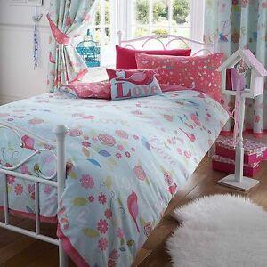 bird Single duvet cover set girl melody love birds pink blue shabby chic