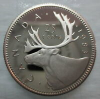 1983 CANADA 25 CENTS PROOF QUARTER HEAVY CAMEO COIN