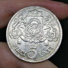Latvia Large Silver 5 Lati 1932 AUNC Condition With Luster Beautiful Coin