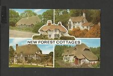Salmon multi View Colour Postcard New Forest Cottages  posted 1976