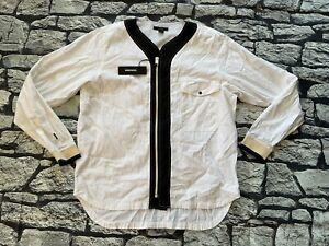 $198 Diesel Men's D Gail White Shirt Long Sleeves Regular Fit Size L