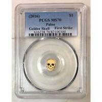 2016  Palau $1 Golden Skull PCGS MS70 ***Rev Tye's Coin Stache*** #030090