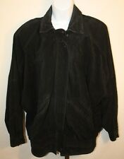 Avanti Womens Ladies Black Suede Leather Zip Front Winter Jacket Size Small