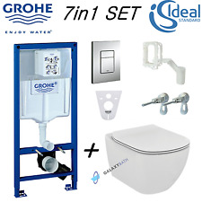 GROHE WC FRAME IDEAL STANDARD TESI RIMLESS WALL HUNG TOILET PAN SOFT CLOSE SEAT