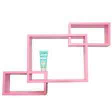 Pink Wall Mounted Display Cube Shelf Bookcase Storage 70x50x10cm