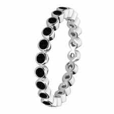 Size 7 925 Solid Sterling Silver Black Round Sparkling Stones Stacking Ring