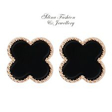 18K Rose Gold Plated Stylish 10mm Black Four Leaf Clover Stud Earrings