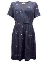 Womens Fat Face Wrap Dress Size UK 12 Black Print Short Sleeved New