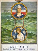 PROPAGANDA WAR WWI KNIT NAVY LEAGUE CLOTHING CHARITY SAILOR USA POSTER BB7094B