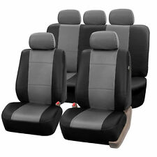Complete Set Synthetic Leather Car Seat Covers for Auto Gray Black w/5 headrests