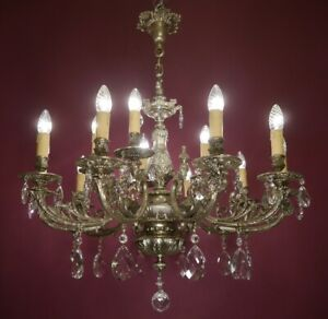 "LARGE CRYSTAL SILVER NICKEL CHANDELIER GLASS CEILING LAMP 15 LIGHT  Ø 32"""
