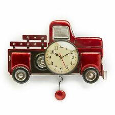 Pendulum Wall Clock with Vintage-Style Red Truck, Battery-Powered Analog Dial