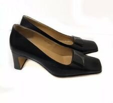 Celine 6 Black Leather Pumps Heels Pilgrim Square Toe $595