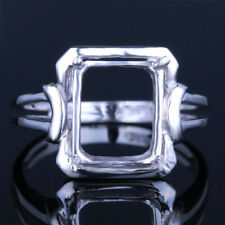 Bid? 10x8mm Cushion Semi-Mount Setting Engagement  Solid Sterling Silver Ring