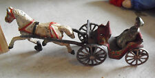 Antique Cast Iron Single Horse Drawn Cart with Woman Figurine