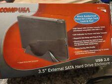 "COMPUSA External SATA 3.5"" Hard Drive Enclosure USB 2.0 Black Rubberized Paint"