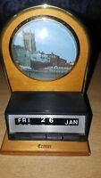 VINTAGE RETRO WOODEN /PLASTIC NOVELTY CALENDAR CROMER WITH PICTURE /TURN DATES