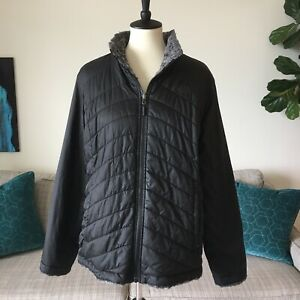 The North Face Reversible Mossbud Faux Sherpa Lined Quilted Puffer Jacket Sz XL