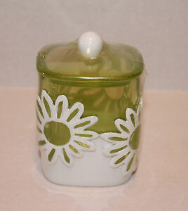 Jumping Beans Flower Power Green Floral Cotton Ball Jar Container Bathroom NEW