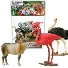 AFRICA ANIMALS ZOO FIGURES =ostrich flamingo,impala, baboon, rocks,trees+ more
