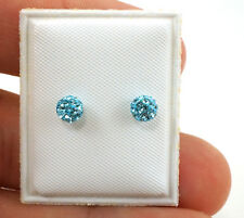 Sterling Silver Baby Blue Disco Ball Earrings for kids 4mm