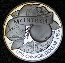 1996 CANADA $1 DOLLAR - .925 SILVER FROSTED PROOF- McINTOSH - Nice Tone - NCC