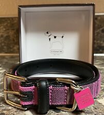 """Coach Leather Dog Collar Pink Black Plaid Size XL 22"""" - 26"""" With Box Tag New"""