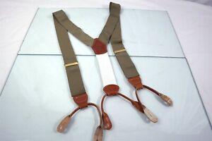 Brooks Brothers Khaki Mens Luxury Leather Adjustable Suspenders Braces