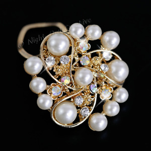 Scarf Clip, Scarf Ring, Sparkling AB Crystals, Soft Gold Tone, White Faux Pearl