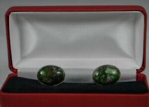 Sterling silver gift boxed cufflinks with Natural Ruby Zoisite (Anyolite)