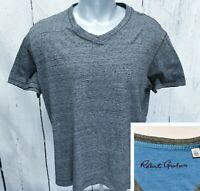 ROBERT GRAHAM Classic Fit L Large V-Neck T Tee Short Sleeve Shirt Gray Heather