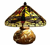River of Goods 10 in. Green Table Lamp with Stained Glass Shade and Mosaic Base