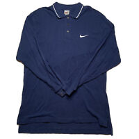 Vintage 90s Nike Men's Size L Embroidered Swoosh Polo Long Sleeve White Tag Blue