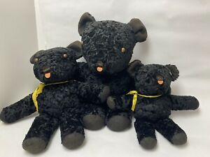 Three Vintage Hand Made Stuffed Teddy Bears Well Made In Great Condition