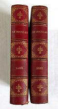 St NICOLAS JOURNAL ILLUSTRÉ,livre ancien,garçon et fille, 2 livres 1880 et 1881