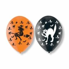 Pack of 6 Orange & Black Halloween Themed Witch and Cat Latex Balloons