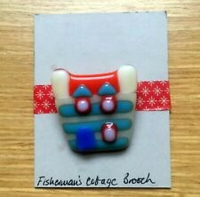 Fused glass brooch Fisherman Cottage red blue silver plate brooch back handmade