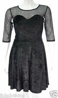 Womens new Black velour plus size Gothic skater dress with mesh sleeves *LICK*