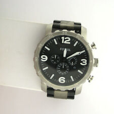Fossil Mens JR1436 Nate Chronograph Stainless Steel Black Link Band Watch