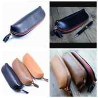 Leather Vintage Zipper Pencil Case Cosmetic Pouch Retro Brush Pen Bag