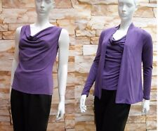 MARKS & SPENCER PER UNA PURPLE MODAL COWL NECK TOP & CARDIGAN Sizes 8,12,20