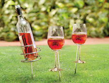 Wine Stick Bottle Holder and 2 Glass Holder Garden Camping Outdoor Picnic Set
