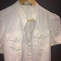 Balenciaga Designer Women's Short Sleeve White Shirt Size 42/UK 8 Small
